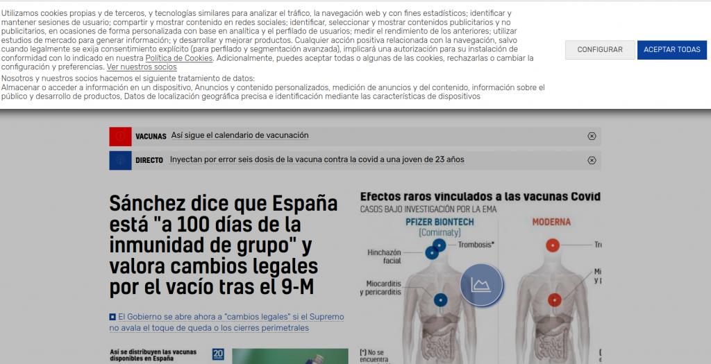 Muro de cookies en la portada del medio de comunicación online 20minutos.es